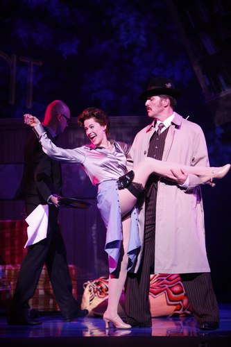 Mamie Parris as Judy Bernly and Joseph Mahowald as FranklinHart, Jr. in 9 to 5: The Musical.