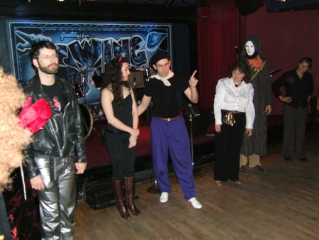 Nathan Bugh of Dance Manhattan teaches Charleston Variations in Lindy Hop at Halloween at Swing 46