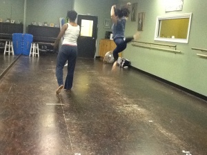 Lindsay Leonard in rehearsal with Kristin Taylor. Photo credit Omar Raja.