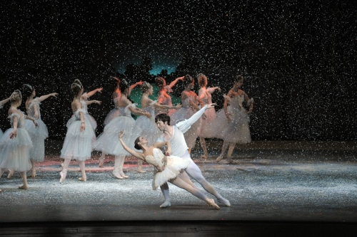 Alison Koroly as the Snow Queen and Christopher Ligner as the Snow Cavalier in Indiana University Ballet Theater's 'The Nutcracker'.