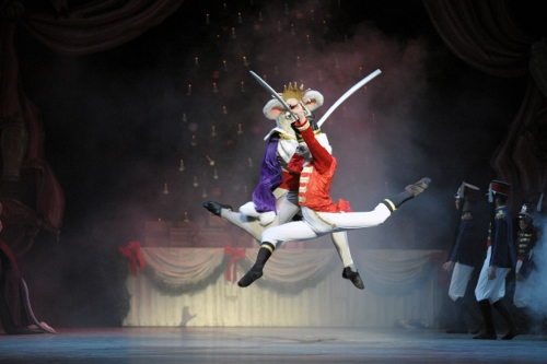 Matthew Rusk as the Mouse King and Tyler Rhoads as the Nutcracker in Indiana University Ballet Theater's 'The Nutcracker'.