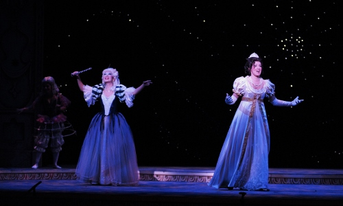 Alyssa Martin as Lucette (Cendrillon) and Angela Yoon as La Fée (Fairy Godmother) in IU Opera's 'Cendrillon'. Photo courtesy of IU Opera Theater.