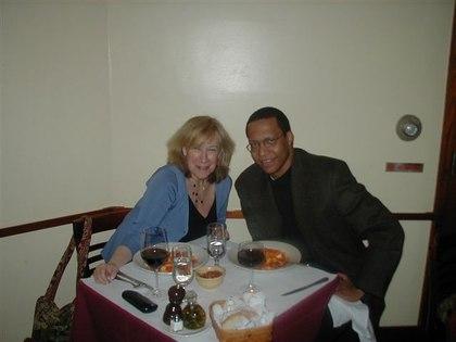 Roberta and Guest, Dr. Henri Delbeau, at <a href='http://www.lunapienanyc.com/amarone.htm'>Amarone Ristorante</a>, near the Ailey Dance Center