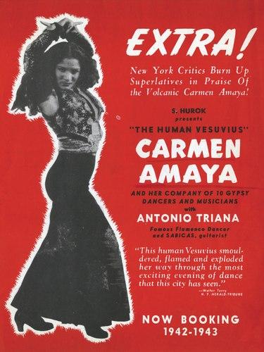 Poster of Carmen Amaya as 'Human Vesuvius,' 1942.
