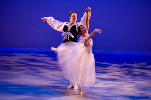 BAE graduate Alexander Castillo, currently a soloist with Los Angeles Ballet and dancer Katie Kim in a BAE Studio Performance of 'Les Sylphides' staged by Cynthia Gregory, choreographed by Michel Fokine.