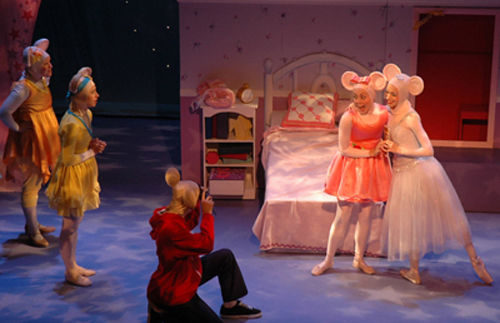 (r. to l.) Amber Coartney as Viki, Amanda Yachechak as Gracie, Eric Restivo as AZ, Whitney Meyer as Angelina Ballerina and Amy White as Serena Silvertail in a scene from 'Angelina Ballerina The Musical'. Photo courtesy of Sun Production, Inc.