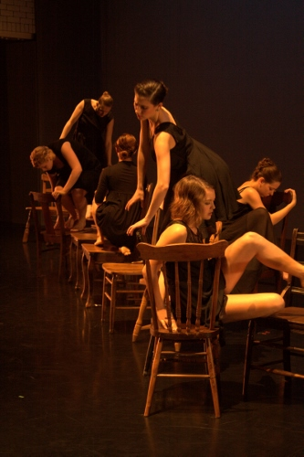 Ensemble dancers in Shannon Sterne's 'Inundation'. From L to R: Christina Coppel, Kristy Clement, Andrea Alvarez, Emma Steele, Karlie Budge and Abbey Hafer.