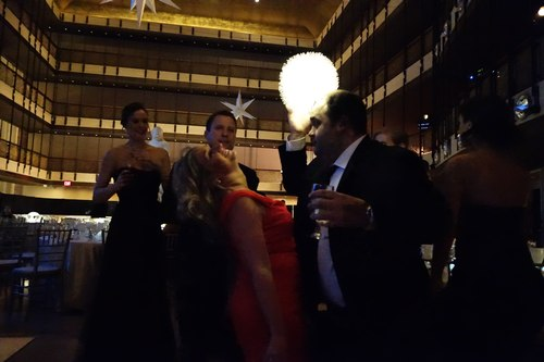 The social dancers had fun, including imaginative use of the imaginative centerpieces.