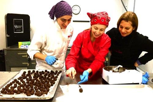 Larissa Sheldon (dancer), Megan Sipe (choreographer), and Sari Miller (friend) making Lady Grey truffles