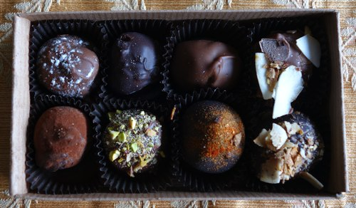 Chocolate Dances gift box in natural light
