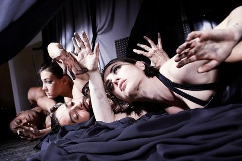 Bryn Cohn & Artists dancers (From L to R) Nik Owens, Rachel Abrahams, Adam Wile and Yuliya Romanskaya in Bryn Cohn's 'Into the Dark'