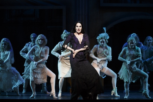 KeLeen Snowgren (Morticia Addams) and Company in the 2013-2014 National Tour of The Addams Family.