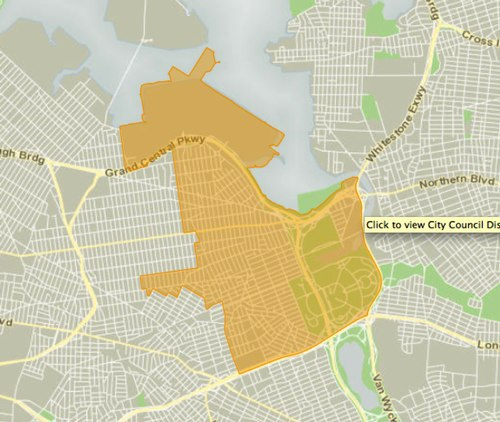 Map of NYC Council District 21 Credit: <a href='http://council.nyc.gov/d21/html/members/map.shtml' target='_blank'>http://council.nyc.gov/d21/html/members/map.shtml</a>)