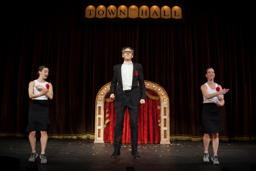 Ira Glass, center, with Monica Bill Barnes, left, and Anna Bass in 'Three Acts, Two Dancers, One Radio Host.'