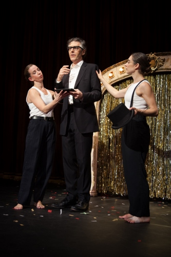 Ira Glass, center, with Anna Bass, left, and Monica Bill Barnes in 'Three Acts, Two Dancers, One Radio Host.'
