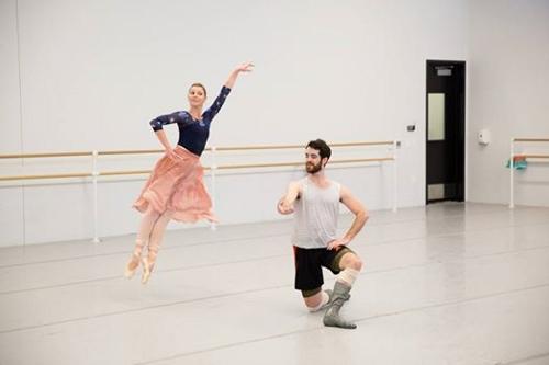 Lauren Fadeley Veyette & Ian Hussey rehearsing Jerome Robbins' 'Other Dances'