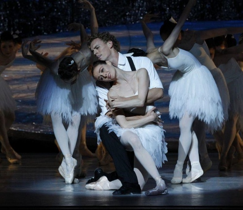 Australian's Ballet Amber Scott and Adam Bull amid the swans in Graeme Murphy's 'Swan Lake.'