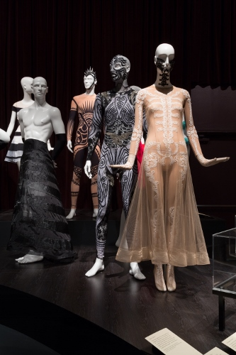 Installation view of Dance & Fashion, featuring contemporary ballet costumes designed by (R to L), Ricardo Tisci, Jean Paul Gaultier, Stella McCartney and Ralph Rucci. Photograph © The Museum at FIT, New York.