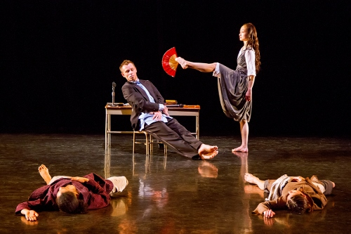 Martha Graham Dance Company in Annie-B Parson's 'The Snow Falls in the Winter'<br>Pictured L-R: Tadej Brdnik and Xiaochuan Xie. On floor: Natasha Diamond-Walker and Carrie Ellmore-Tallitsch.
