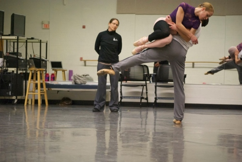 Choreographer GIna Patterson working in-studio with GRB dancers in studio on 'To the River'. Photo courtesy of Grand Rapids Ballet.