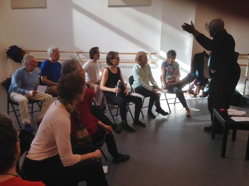 Brooklyn vocal rehearsal at Mark Morris Dance Center, with Philip Hamilton (Sing for PD) leading the group.