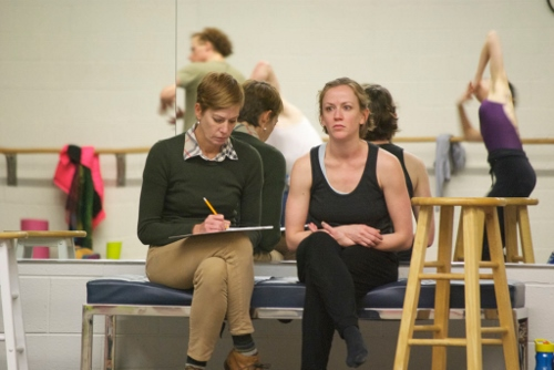 Grand Rapids Ballet artistic director Patricia Barker (left) along with choreographer Penny Saunders in a rehearsal of Saunders' 'base ∞.'