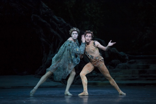 The Royal Ballet's Matthew Golding as Oberon and Valentino Zucchetti as Puck in Frederick Ashton's 'The Dream.'