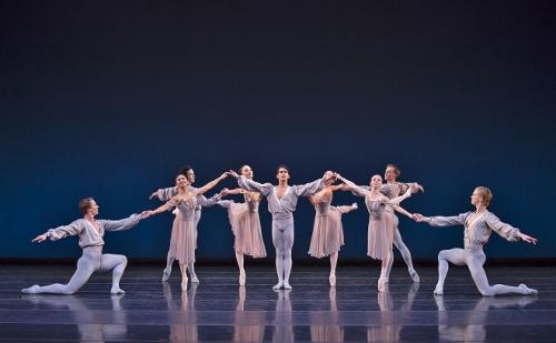BalletMet's Miguel Anaya (center ) and company in George Balanchine's 'Allegro Brilliante.'