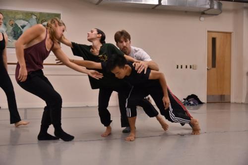GroundWorks DanceTheater dancers rehearsing David Shimotakahara's 'Shadowbox.'