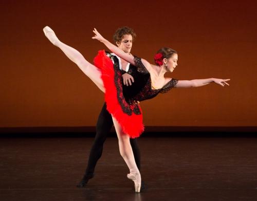 """Gelsey Kirkland Ballet dancers in the """"Don Quixote"""" pas de deux."""