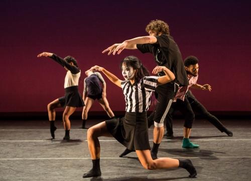 "Dancers in Annielille Gavino Kollman's ""La Migra, Let's Run (baseball)."""