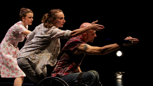 Dancers Julie Crothers, Dwayne Scheuneman, and Sophie Stanley in Joe Goode's 'to go again.'