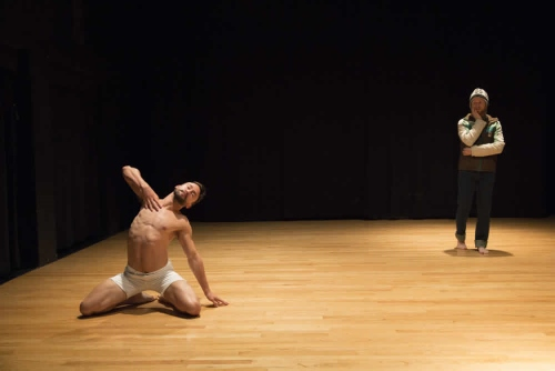 """Emspace's Chad Dawson (front) and Kegan Marling (rear) in Erin Mei-Ling Stuart's """"Whether to Weather."""""""