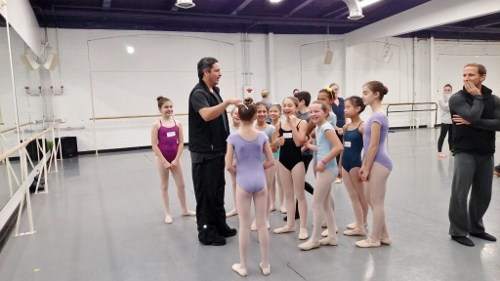Choreographer Jimmy Orrante working with student dancers on 'The Ugly Duckling.'