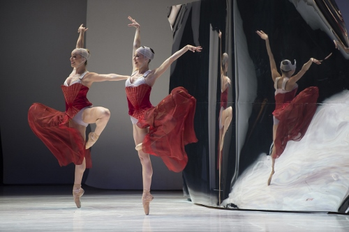 Gaëlle Riou and Anne-Laure Seillan as the stepsisters in Jean Christophe Maillot's 'Cinderella.'