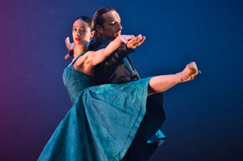 "Ballet Hispanico dancers in Pedro Ruiz's ""Club Havana."""