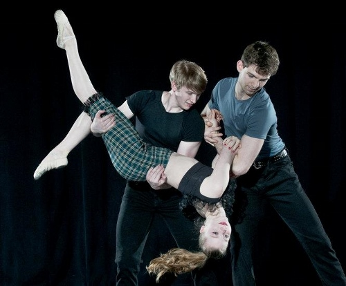 "Grand Rapids Ballet's Steven Houser, Cassidy Isaacson and Mark Dave Naquin in Brian Enos' ""Nae Regrets."""