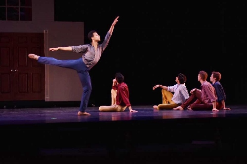 Cleveland Ballet's Nicholas Montero (L) and dancers in Ramón Oller's 'Coppélia.'