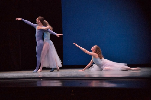 (L-R) Colin Ellis, Cara Hansvick and Raffaella Stroik in George Balanchine's 'Serenade.'