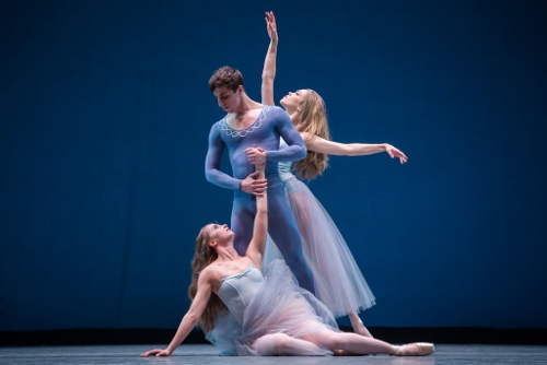 (F-B) Raffaella Stroik, Colin Ellis and Cara Hansvick in George Balancchine's 'Serenade.'