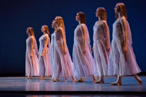(L-R) Ryan McCreary, Megan Klamert, Elizabeth Yanick, Cara Hansvick, Alexandra Hartnett, Sarah Young and Lauren Lane in George Balanchine's 'Elégie.'