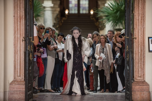 Eiko Otake performs 'A Body in Places' at Miami's Vizcaya Museum and Gardens.