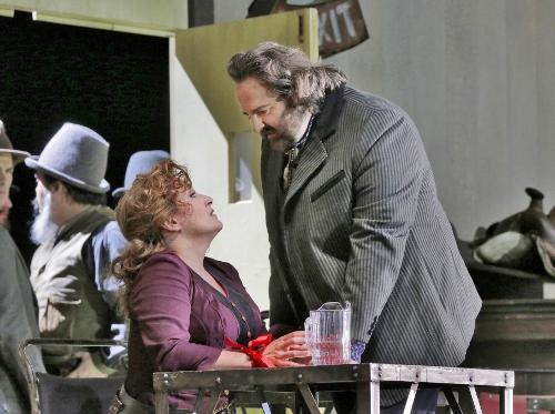 Gwyn Hughes Jones (Dick Johnson) and Patricia Racette (Minnie) in 'La Fanciulla del West' (Girl of the Golden West).