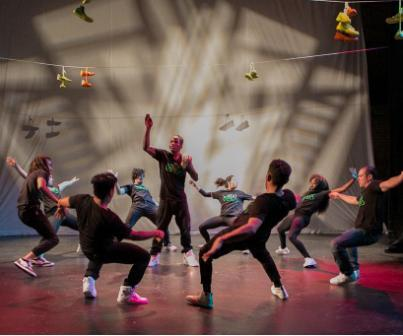 "Antics dancer Bliss in the center along with dancers John ""Magick"" Liggins, Liezel de Guzman, Emeroy Bernardo, Michael ""Menace"" Rebong, Valerie Hwang, Stephen Velazquez, Ebonee Arielle Le'Triece, and Donnie ""Crumbs"" Counts performing ""Soles of Souls"" in Sneaker Suites."