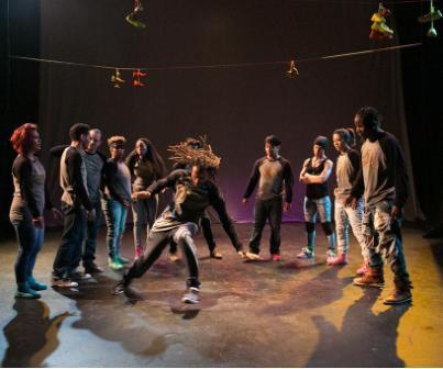 "Antics dancer John ""Magick"" Liggins in the center along with Liezel de Guzman, Stephen Velazquez, Donnie ""Crumbs"" Counts, Cyrian Reed, Ebonee Arielle Le'Triece, Michael ""Menace"" Rebong, Emeroy Bernardo, Amy ""Catfox"" Campion, Valerie Hwang, and Bliss performing 'Beauty and the B-Girl"" in Sneaker Suites."