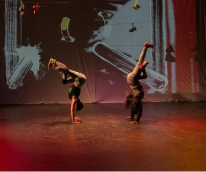 "Antics dancers Amy ""Catfox"" Campion and Ebonee Arielle Le'Triece perform a duet in 'Beauty and the B-Girl"" in Sneaker Suites."