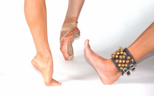 "(Left to right) The feet of Maria Basile, Karen Gabay and Rasika Kumar, choreographers of ""Goddesses and…""."