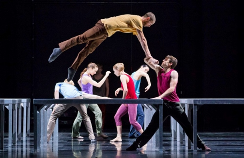 Hubbard Street Dancers Jesse Bechard, above, and Kevin J. Shannon in William Forsythe's One Flat Thing, reproduced, with, upstage from left, Florian Lochner, Alice Klock, David Schultz, Emilie Leriche, and Ana Lopez.