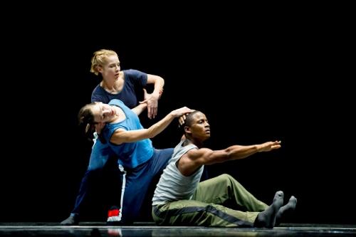 Hubbard Street Dancers in N.N.N.N. by William Forsythe, from left: Emilie Leriche, Jacqueline Burnett, and Jeffery Duffy.
