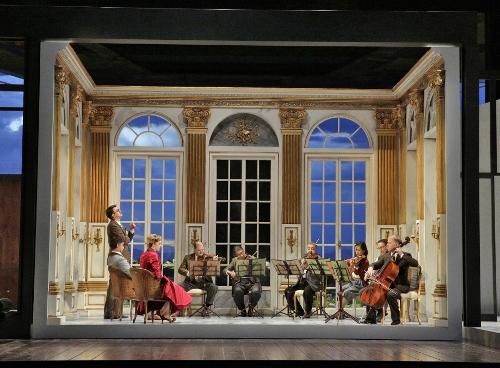 Ben Bliss (Flamand), Craig Verm (The Count), Amanda Majeski (The Countess) and members of The Santa Fe Opera Orchestra in 'Capriccio.'